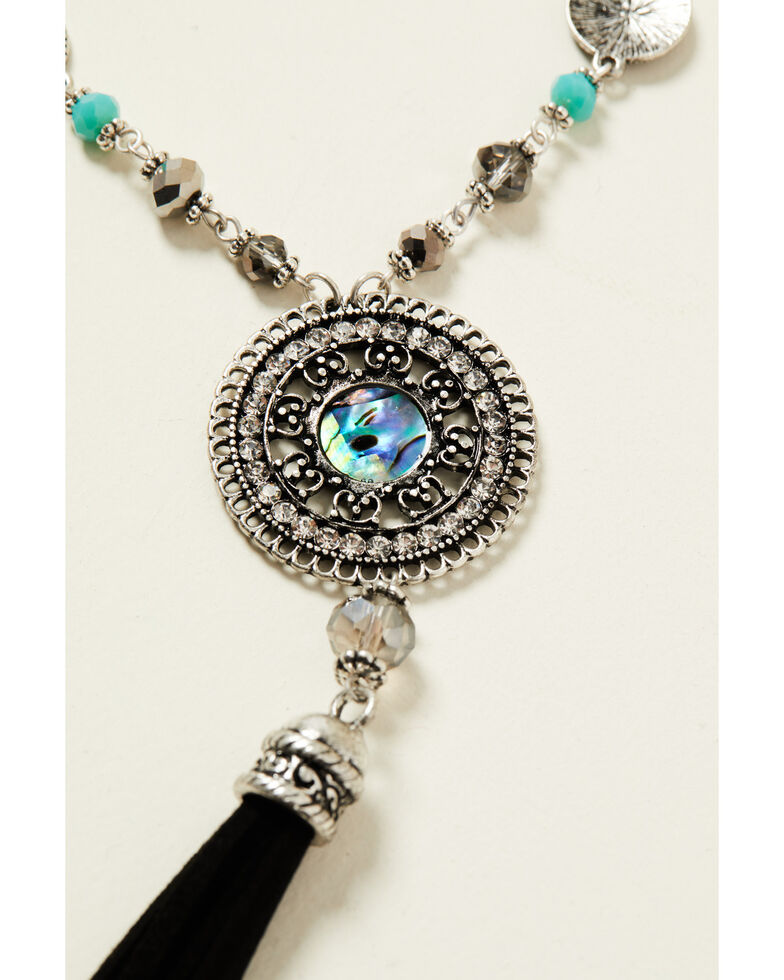 Shyanne Women's Shimmer Concho Tassel Jewelry Set, Silver, hi-res