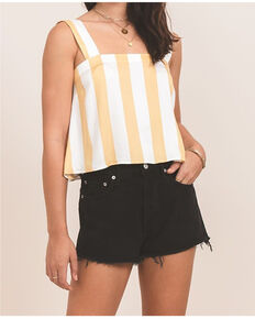 Others Follow Women's Mustard & White Delta Top, Dark Yellow, hi-res