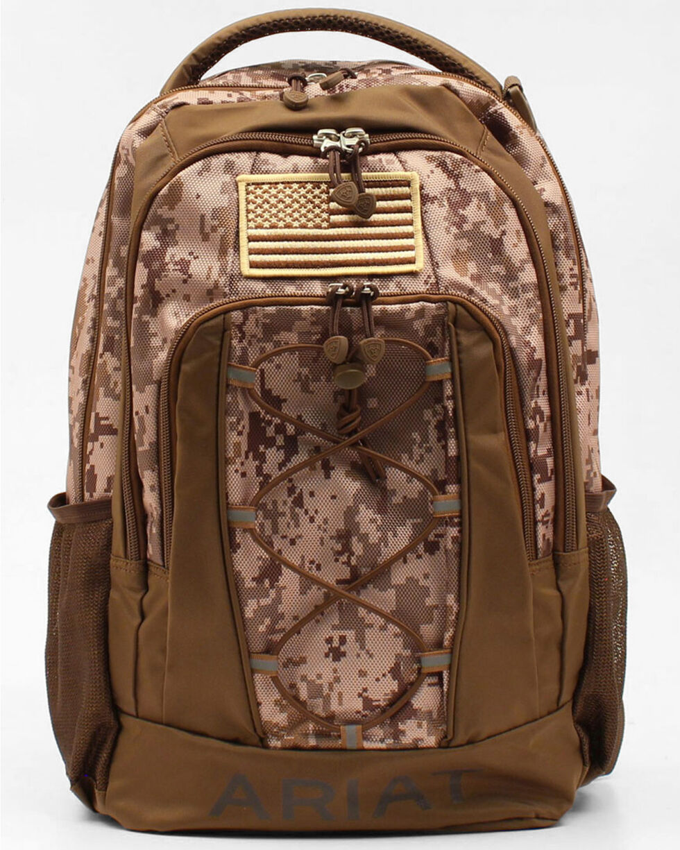 Ariat Camo American Patch Front Panel Backpack, Brown, hi-res
