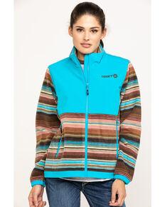 HOOey Women's Serape Softshell Fleece Jacket, Turquoise, hi-res