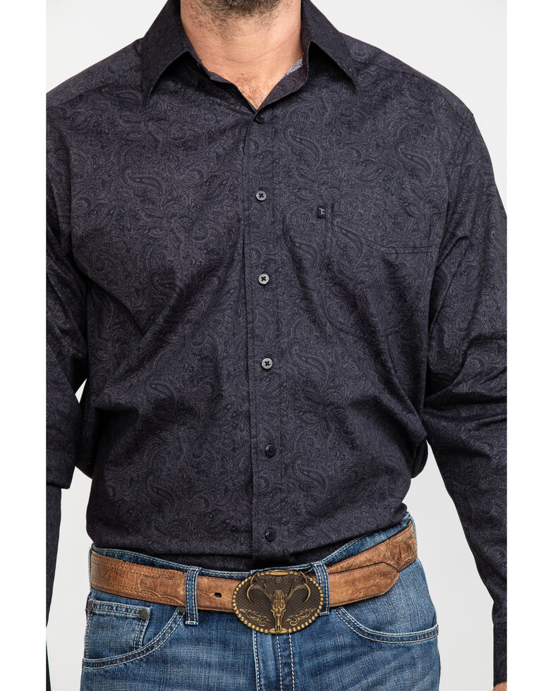 Tuf Cooper Men's Charcoal Stretch Paisley Print Long Sleeve Western Shirt , Charcoal, hi-res