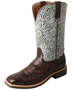 Twisted X Women's Top Hand Western Boots - Wide Square Toe, Brown/blue, hi-res
