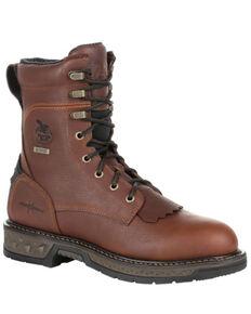 Georgia Boot Men's Carbo-Tec LT Waterproof Work Boots - Steel Toe, Brown, hi-res