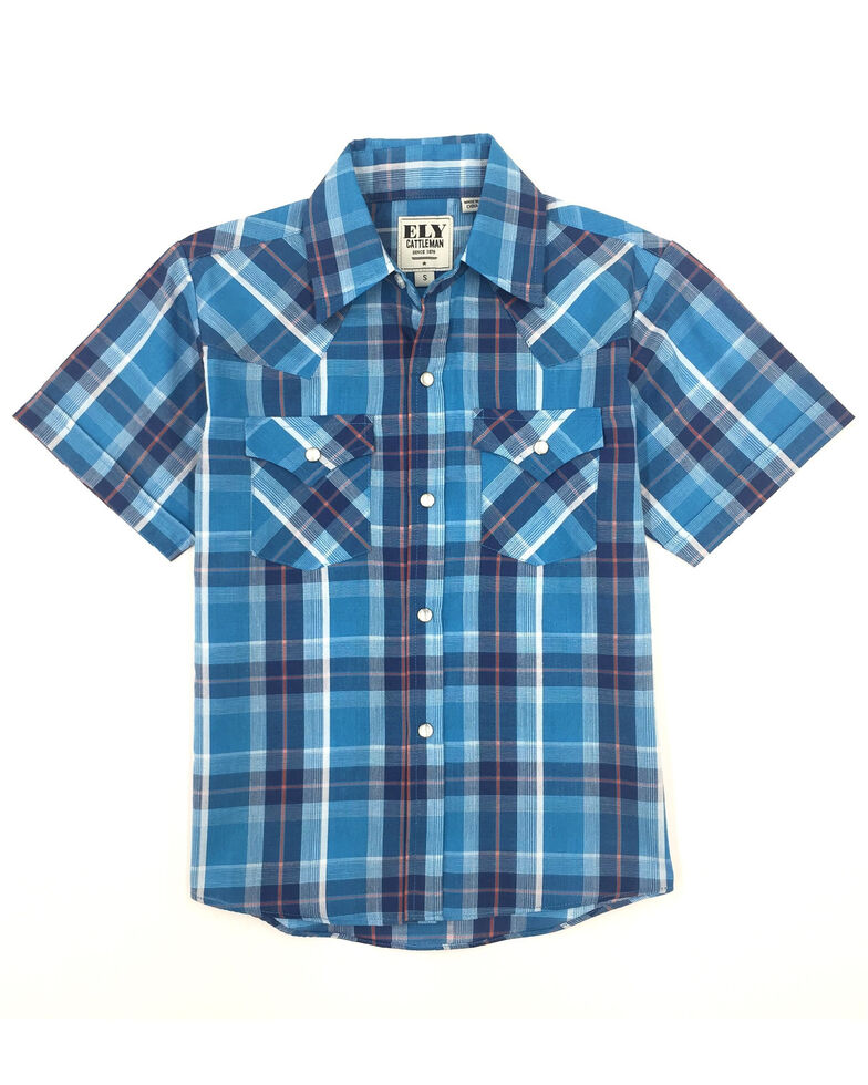 Ely Cattleman Boys' Aqua Plaid Short Sleeve Western Shirt , Aqua, hi-res