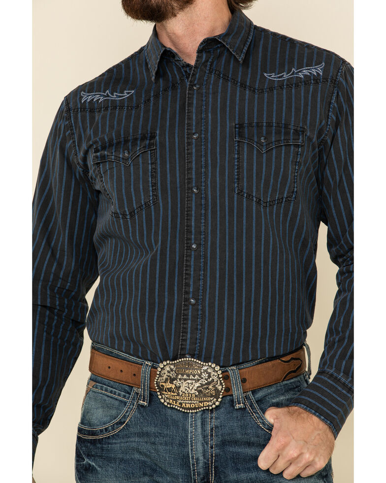 Rock 47 By Wrangler Men's Black Stripe Embroidered Long Sleeve Western Shirt , Black, hi-res