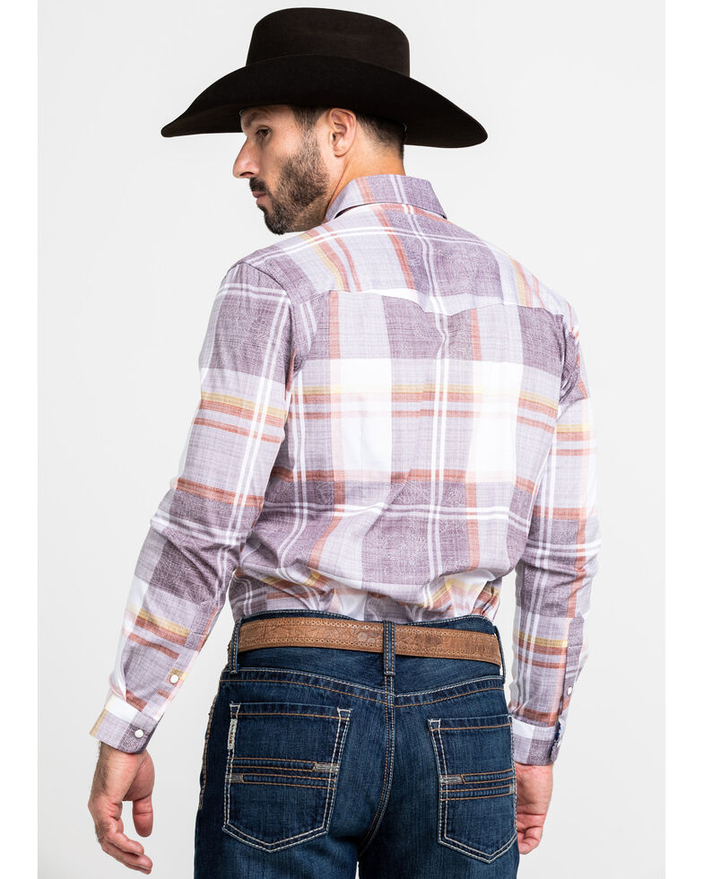 Scully Signature Soft Series Men's Large Plaid Snap Long Sleeve Western Shirt , Brown, hi-res