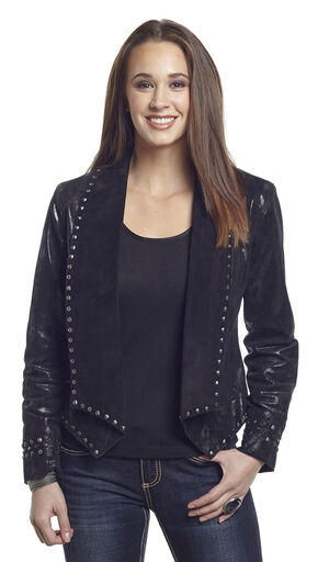 Cripple Creek Women's Studded Metallic Draped Leather Jacket, Black, hi-res