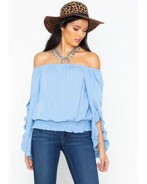 Wrangler Women's Chambray Ruffle Off The Shoulder Top, Blue, hi-res
