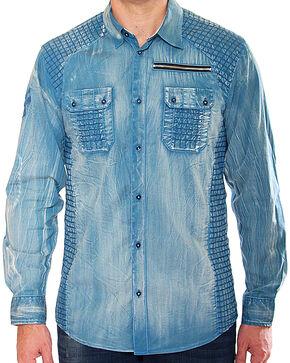 Austin Season Men's Blue Criss-Cross Pattern Shirt , Blue, hi-res