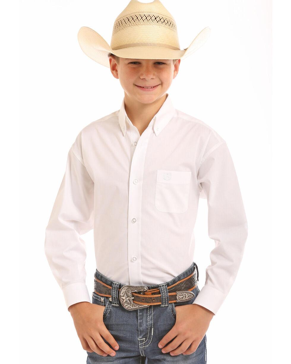 Panhandle Select Boys' Solid Stretch Poplin Print Long Sleeve Western Shirt , White, hi-res