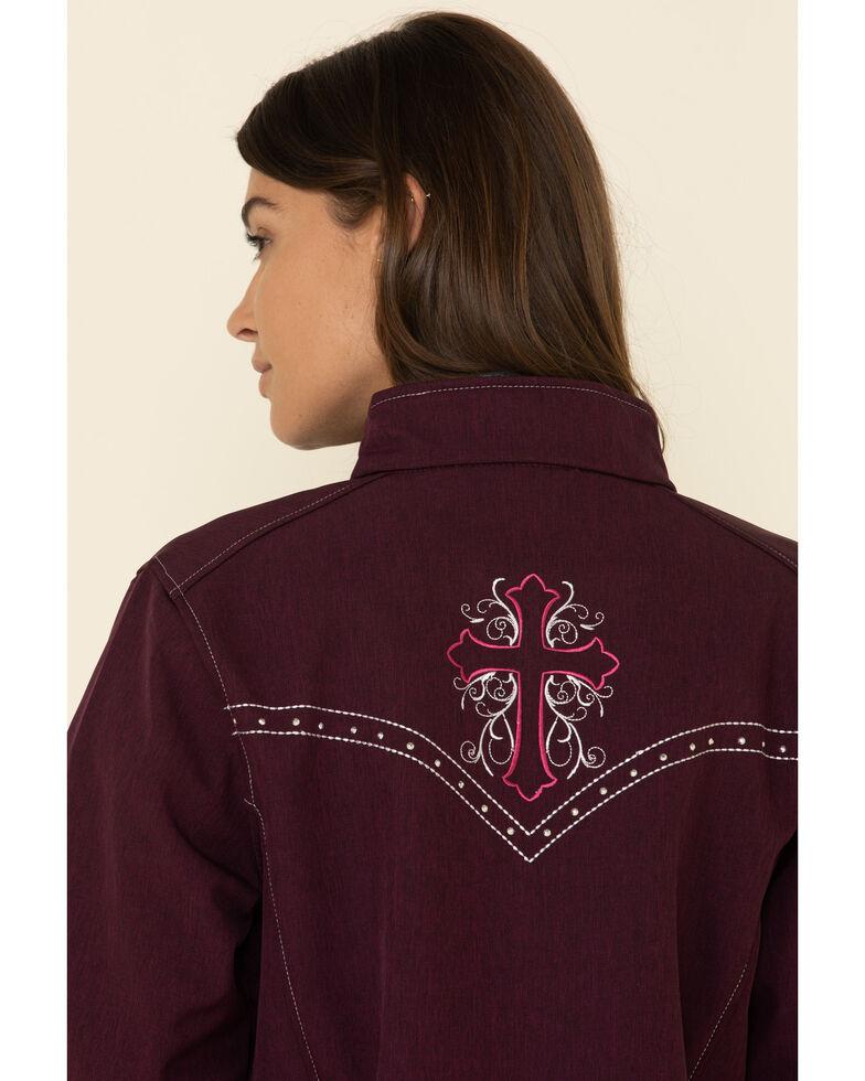Cowgirl Hardware Women's Burgundy Vine Cross Softshell Jacket, Burgundy, hi-res