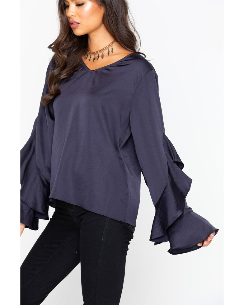 Ariat Women's Women's Satin Hatch Top Ruffle Long Sleeve Blouse , Navy, hi-res