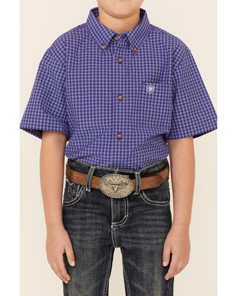 Ariat Boys' Patton Check Plaid Long Sleeve Button-Down Western Shirt , Purple, hi-res