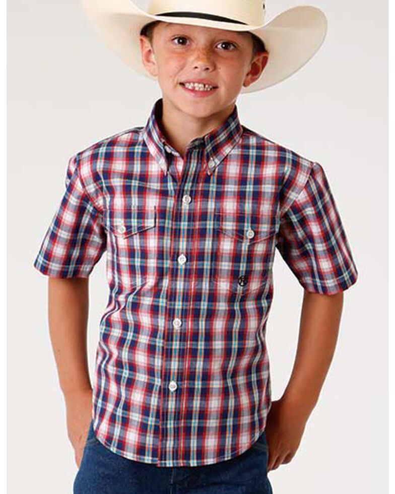 Roper Boys' Amarillo Multi Plaid Short Sleeve Western Shirt , Blue, hi-res