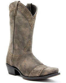 Laredo Men's Charcoal Bucklace Detail Western Boots - Snip Toe, Charcoal, hi-res