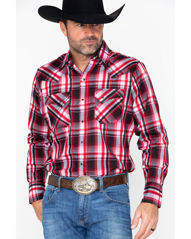 Ely Cattleman Men's Western Woven Textured Plaid Shirt , Red, hi-res