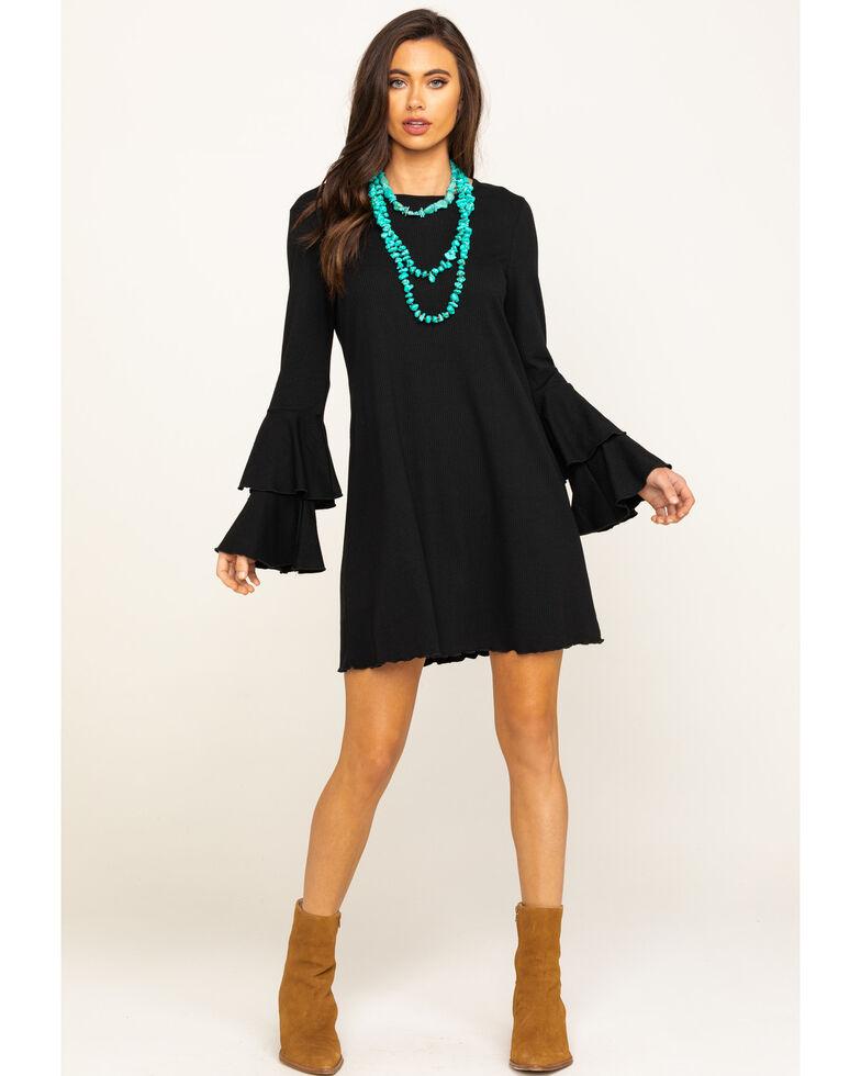 Wrangler Women's Black Bell Sleeve Dress, Black, hi-res