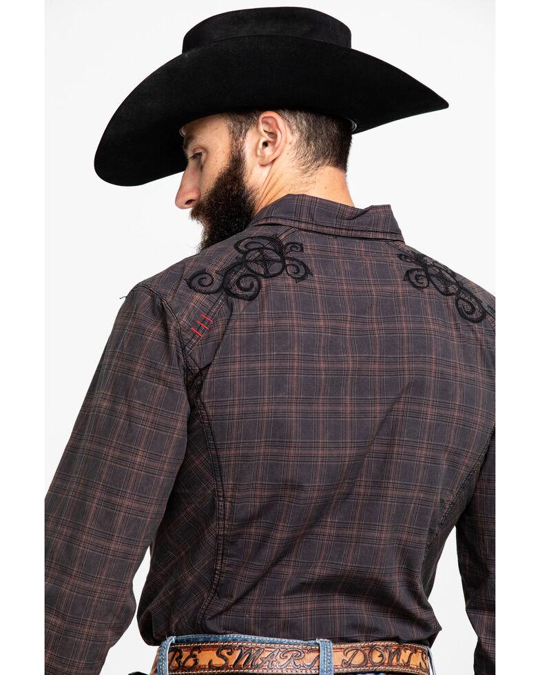 Austin Season Men's Embroidered Cross Plaid Button Long Sleeve Western Shirt, Brown, hi-res