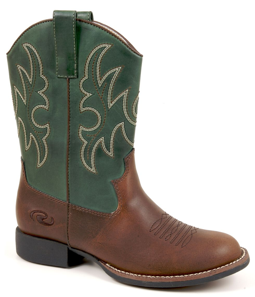Roper Boys' Green & Brown Cowboy Boots, Brown, hi-res