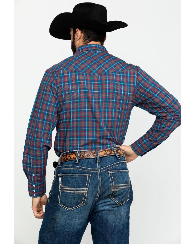 Roper Men's Classic Multi Plaid Snap Woven Long Sleeve Western Shirt , Blue, hi-res