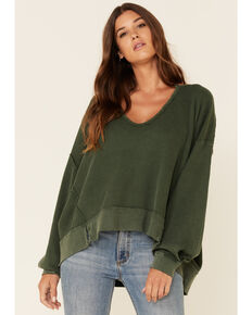 Free People Women's Buttercup Long Sleeve Thermal Top , Olive, hi-res