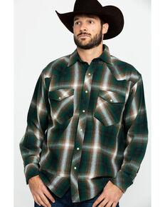 Resistol Men's Mexia Ombre Large Plaid Long Sleeve Western Shirt , Green, hi-res