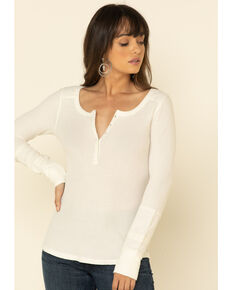 Idyllwind Women's Ivory Starlit Steamed Henley Top, Ivory, hi-res