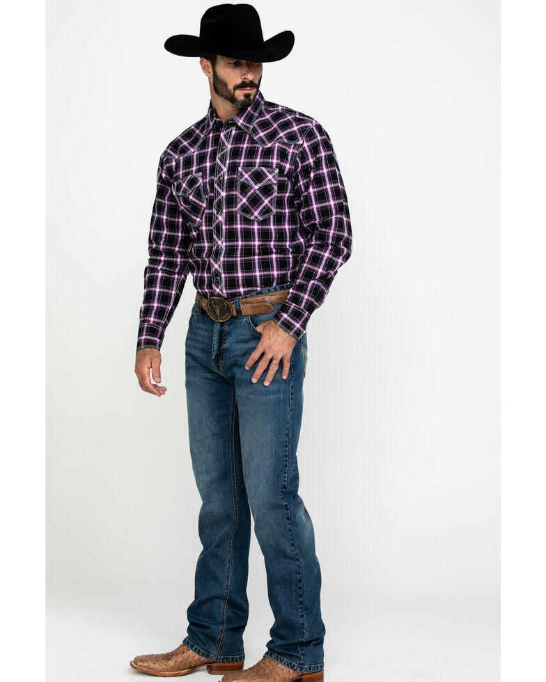 Wrangler 20X Men's Advanced Comfort Plaid Long Sleeve Western Shirt , Black/purple, hi-res