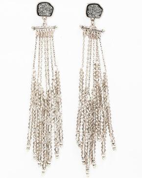Shyanne Women's Slate Sparkle Shimmery Fringe Chandelier Earrings, Slate, hi-res