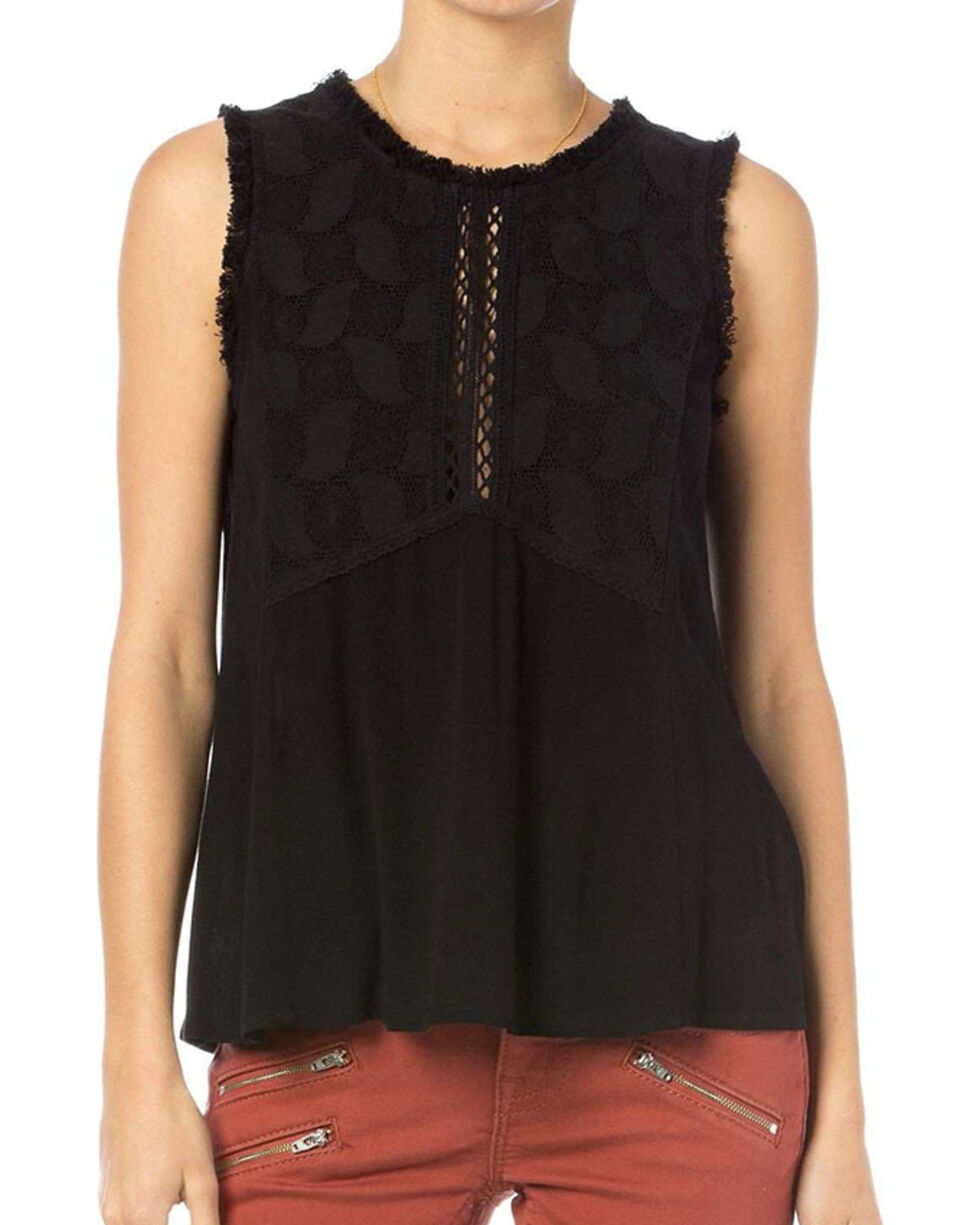 Miss Me Women's Frayed Open Back Tank, Black, hi-res