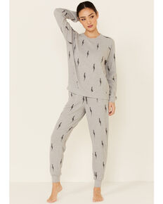 PJ Salvage Women's Lightning Bolt Sweatpants, Heather Grey, hi-res