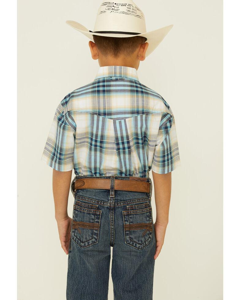 Roper Boys' Lake Short Robin Egg Plaid Short Sleeve Button-Down Western Shirt , White, hi-res