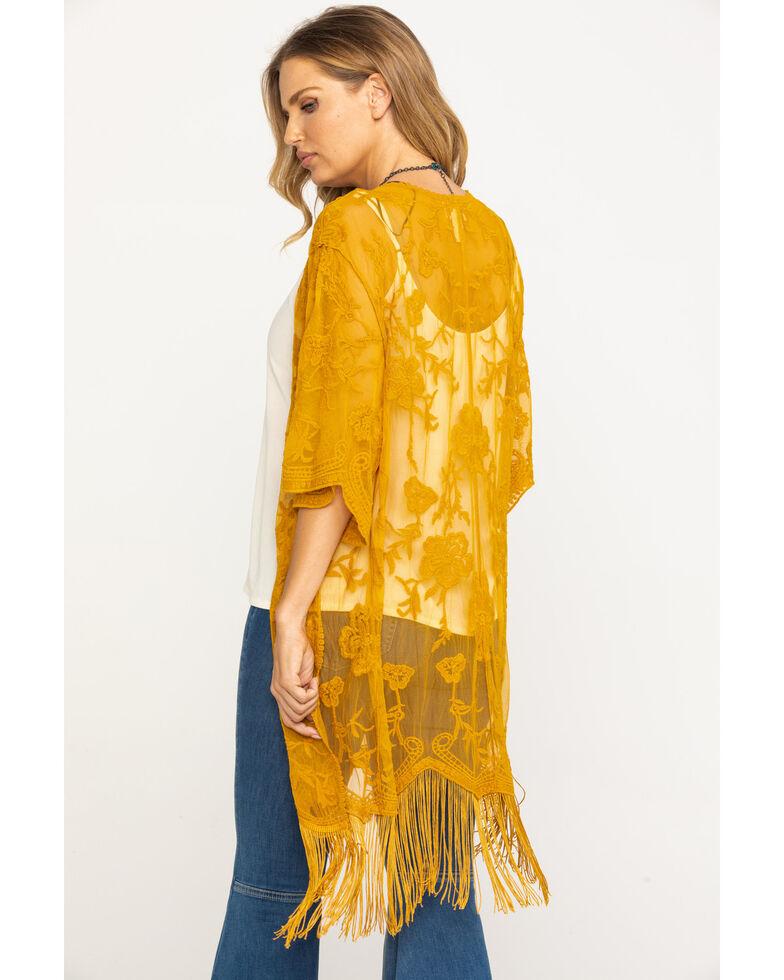 Jody of California Women's Lace Fringe Hem Kimono , Dark Yellow, hi-res