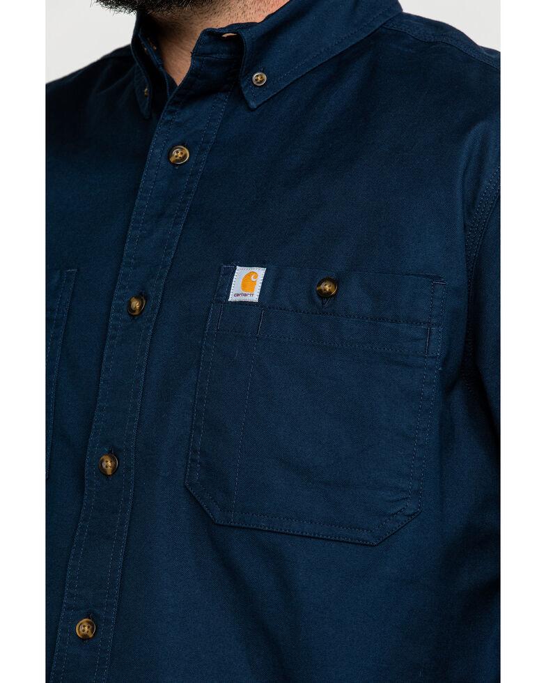Carhartt Men's Navy Rugged Flex Rigby Short Sleeve Work Shirt , Navy, hi-res