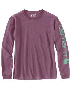 Carhartt Women's Heather Purple Logo Long Sleeve Work Shirt - Plus, Heather Purple, hi-res