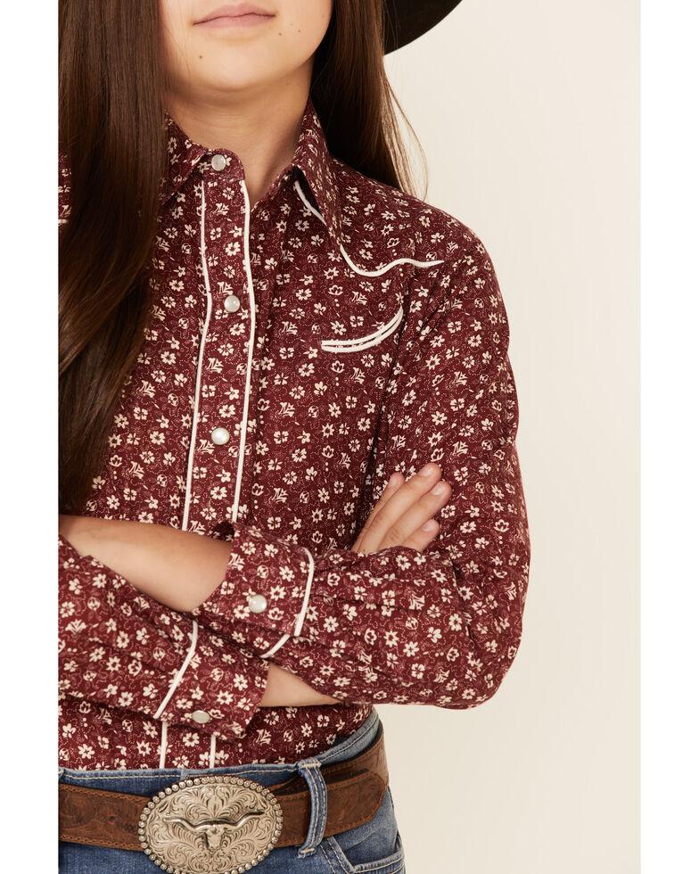 Roper Girls' Burgundy Floral Print Long Sleeve Snap Western Shirt , Burgundy, hi-res