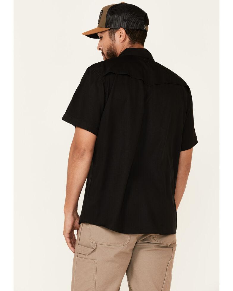 HOOey Men's Solid Black Habitat Sol Short Sleeve Snap Western Shirt, Black, hi-res