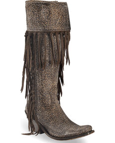 Liberty Black Women's Micro Jaguart T-Moro Tall Fringe Boots - Narrow Square Toe , Dark Brown, hi-res