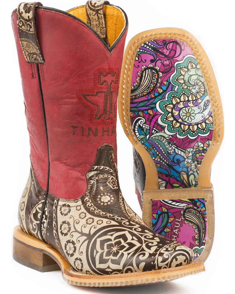 Tin Haul Girls' Paisley Rocks Cowgirl Boots - Square Toe, Brown, hi-res