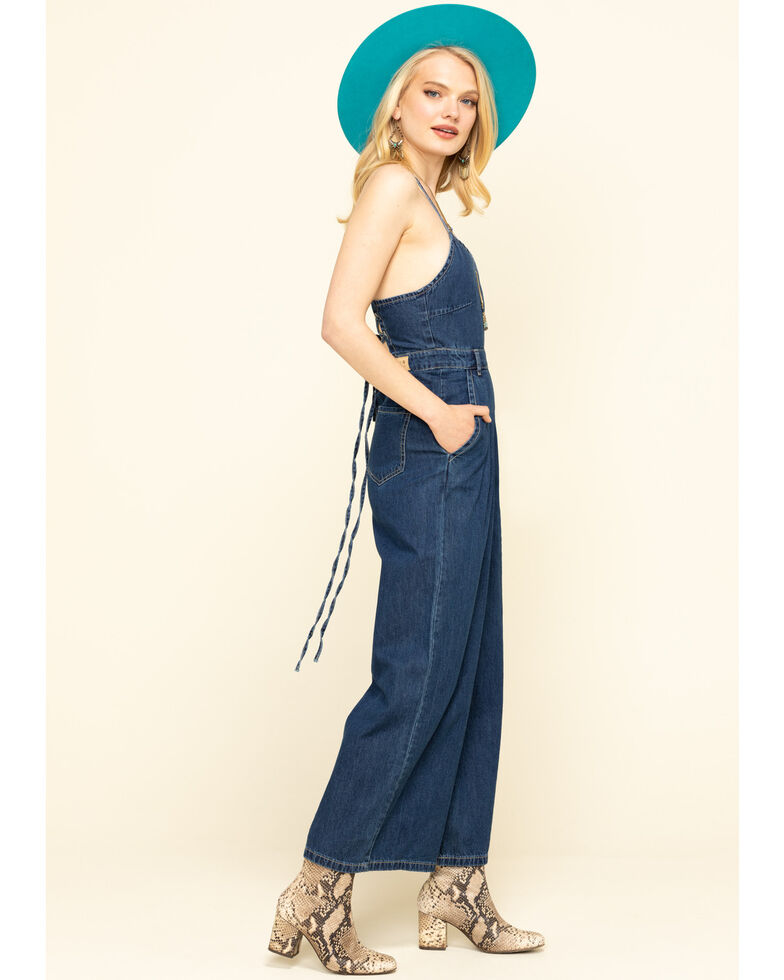 Molly Bracken Women's Denim Back Tie Jumpsuit, Blue, hi-res