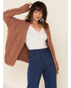 POL Women's Mauve Cable Knit Cardi Sweater , Mauve, hi-res