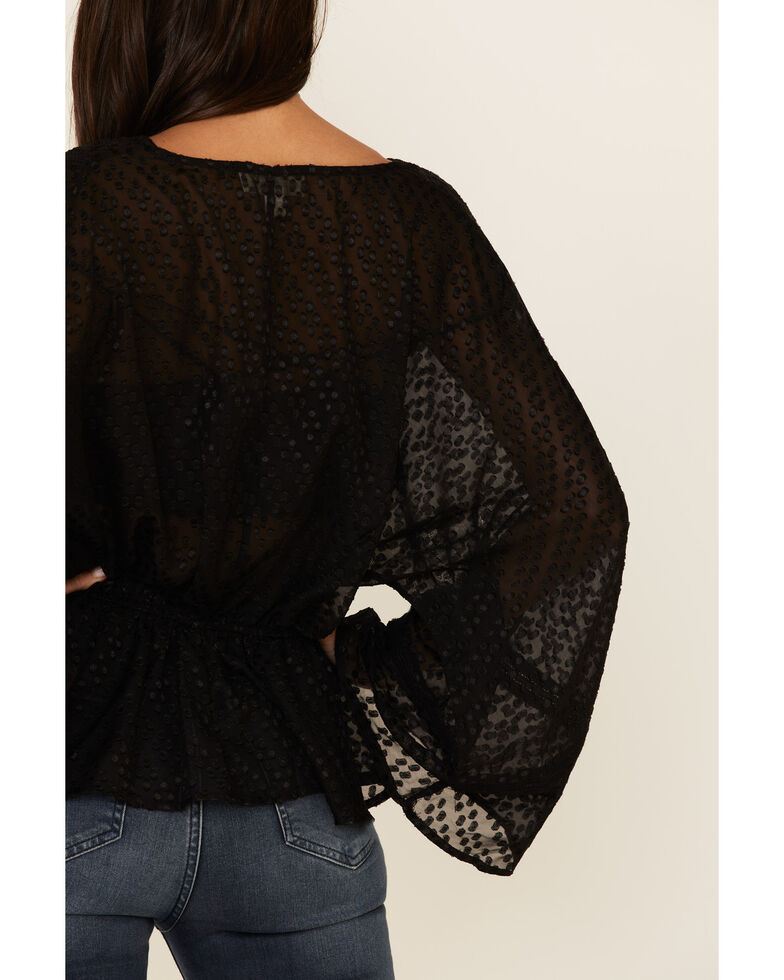Band Of Gypsies Women's Black Electric Ave Textured Long Sleeve Top , Black, hi-res