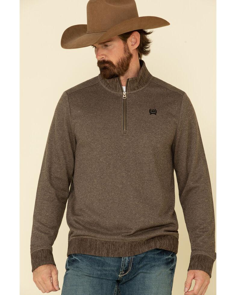 Cinch Men's Brown 1/4 Zip Sweater Knit Pullover Sweatshirt - Big , Brown, hi-res