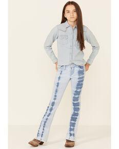 Rock & Roll Denim Girls' Light Wash Tie-Dye Fray Hem Trouser Jeans , Blue, hi-res