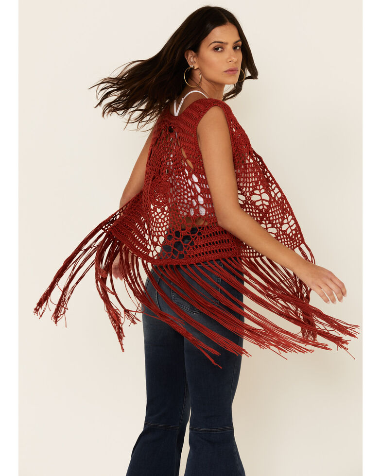Rock & Roll Denim Women's Rust Crochet Fringe Vest, Rust Copper, hi-res