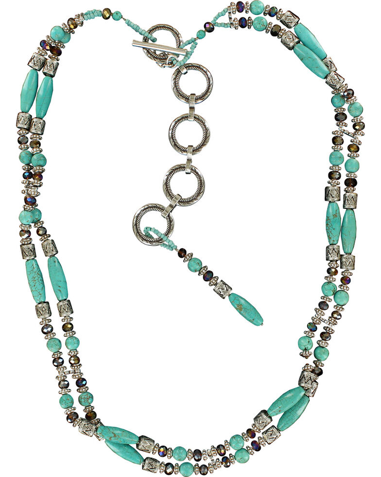 Ariat Beaded Turquoise Chain Belt, Turquoise, hi-res