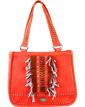 Montana West Women's Indian Beaded Double Strap Concealed Carry Handbag , Coral, hi-res