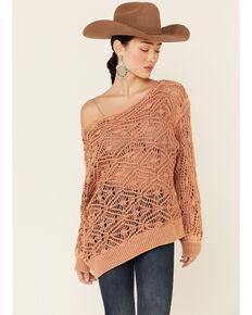 Elan Women's Clay Open Weave Off-Shoulder Pullover Sweater , Mauve, hi-res