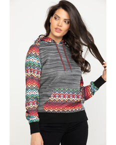 HOOey Women's Heather Grey Sierra Serape Hoodie, Black, hi-res