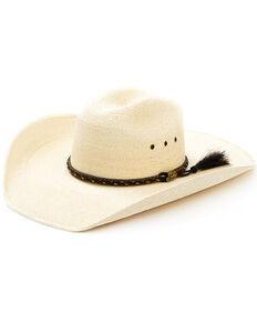 Justin Men's Light Brown Buckhorn Straw Western Hat , Brown, hi-res